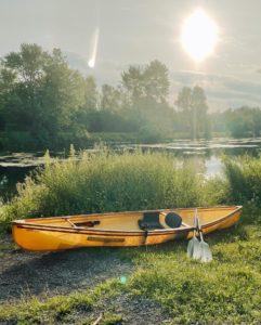 canoe against canal