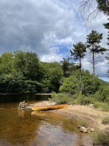 Canoe on island